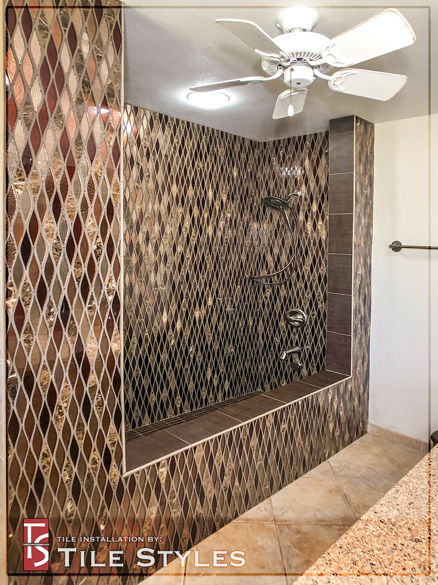 Glass Mosaic Roman Tub & Shower Stall - Tile Styles
